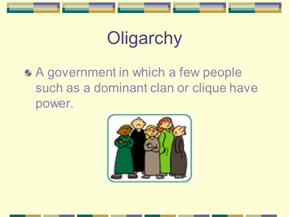 Autocracy Government by a single person having unlimited power; despotism (domination through threat of punishment and violence).