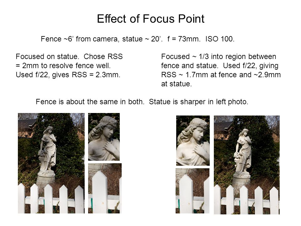 Effect of Focus Point Fence ~6' from camera, statue ~ 20'. f = 73mm. ISO 100. Focused on statue. Chose RSS = 2mm to resolve fence well. Used f/22, giv