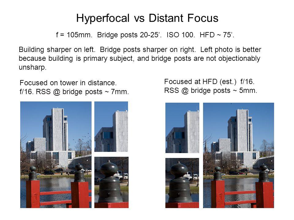 Hyperfocal vs Distant Focus f = 105mm.Bridge posts 20-25'.