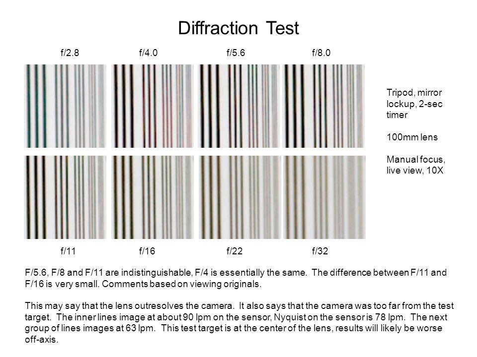 Diffraction Test f/2.8 f/4.0 f/5.6 f/8.0 f/11 f/16 f/22 f/32 Tripod, mirror lockup, 2-sec timer 100mm lens Manual focus, live view, 10X F/5.6, F/8 and F/11 are indistinguishable, F/4 is essentially the same.