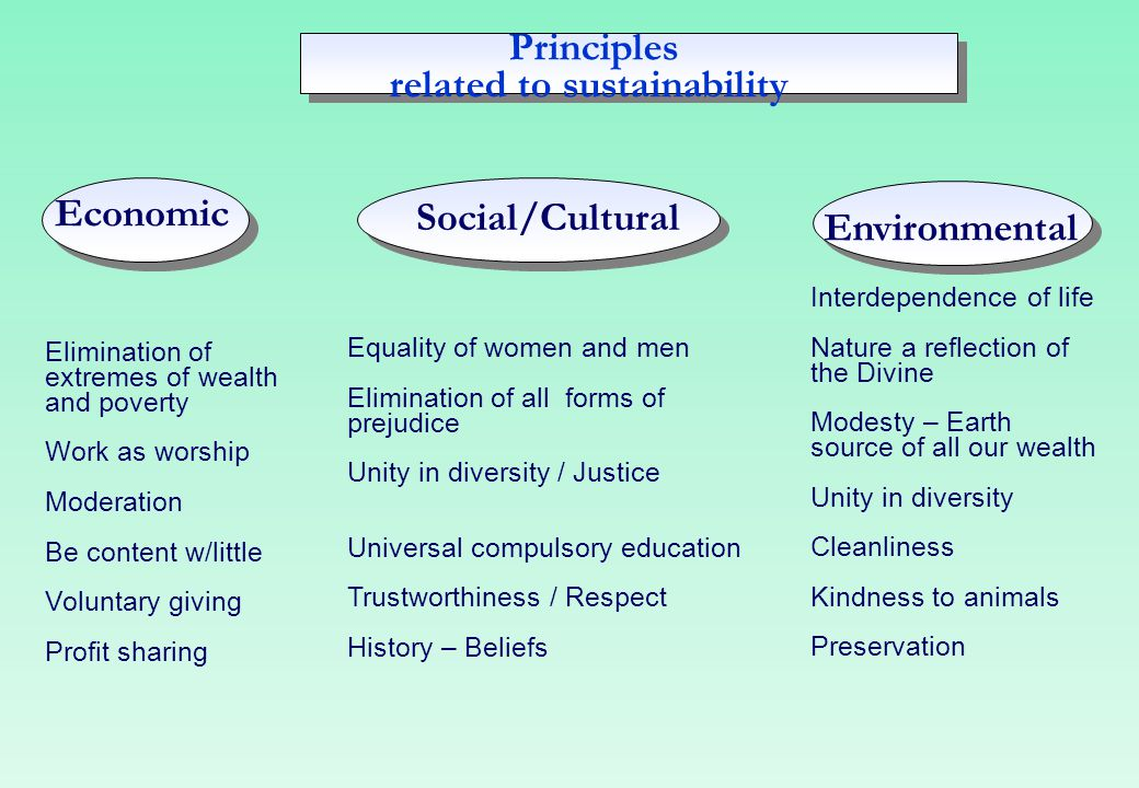 Principles related to sustainability Economic Social/Cultural Environmental Elimination of extremes of wealth and poverty Work as worship Moderation B