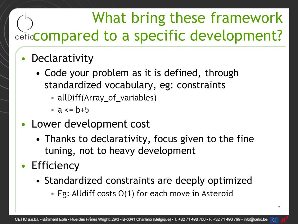 What bring these framework compared to a specific development.