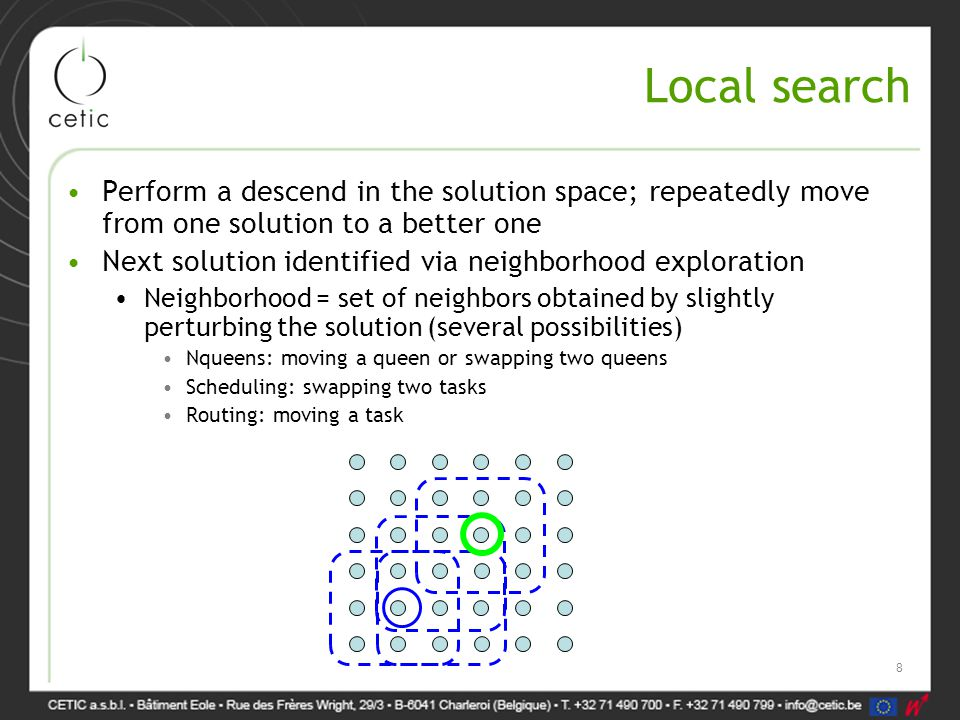Local search Perform a descend in the solution space; repeatedly move from one solution to a better one Next solution identified via neighborhood exploration Neighborhood = set of neighbors obtained by slightly perturbing the solution (several possibilities) Nqueens: moving a queen or swapping two queens Scheduling: swapping two tasks Routing: moving a task 8