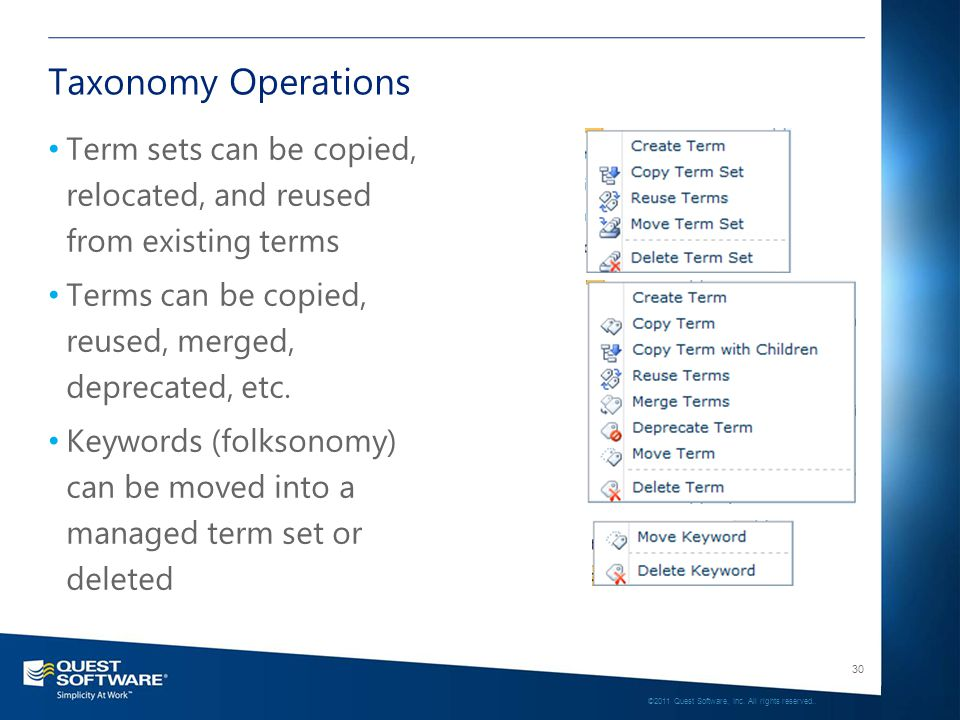 30 ©2011 Quest Software, Inc. All rights reserved.. Taxonomy Operations Term sets can be copied, relocated, and reused from existing terms Terms can b