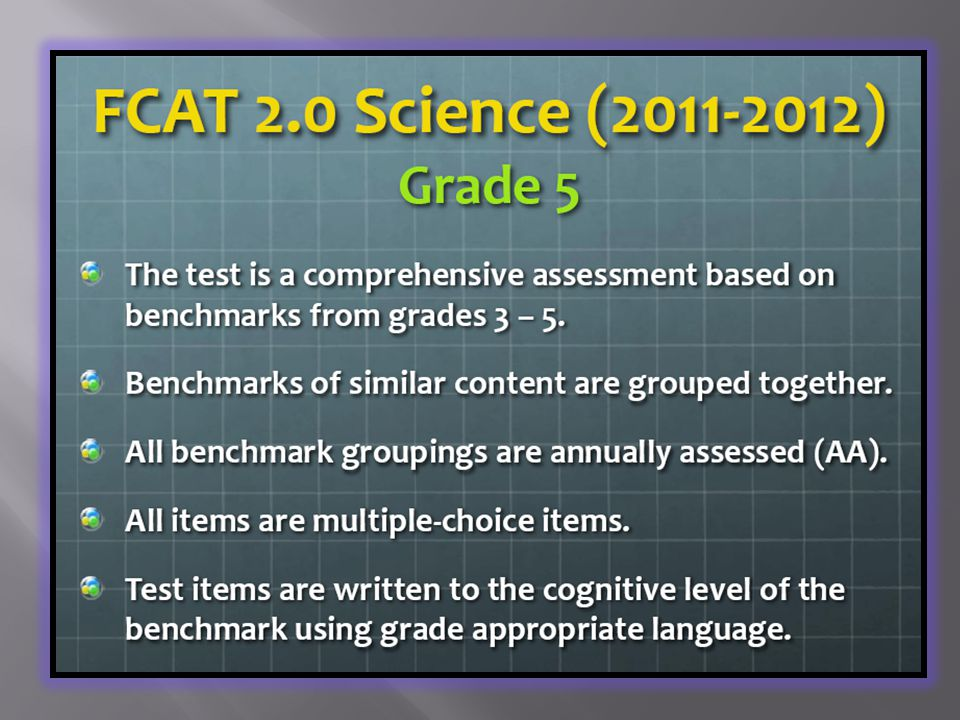  The assessments begin in Spring 2012. All items are multiple-choice.