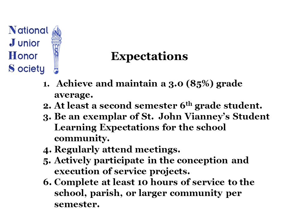 1. Achieve and maintain a 3.0 (85%) grade average. 2.At least a second semester 6 th grade student. 3.Be an exemplar of St. John Vianney's Student Lea