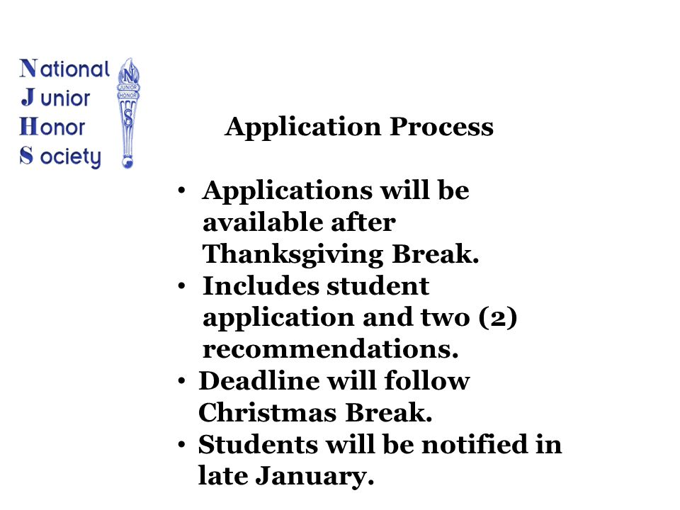 Applications will be available after Thanksgiving Break. Includes student application and two (2) recommendations. Deadline will follow Christmas Brea