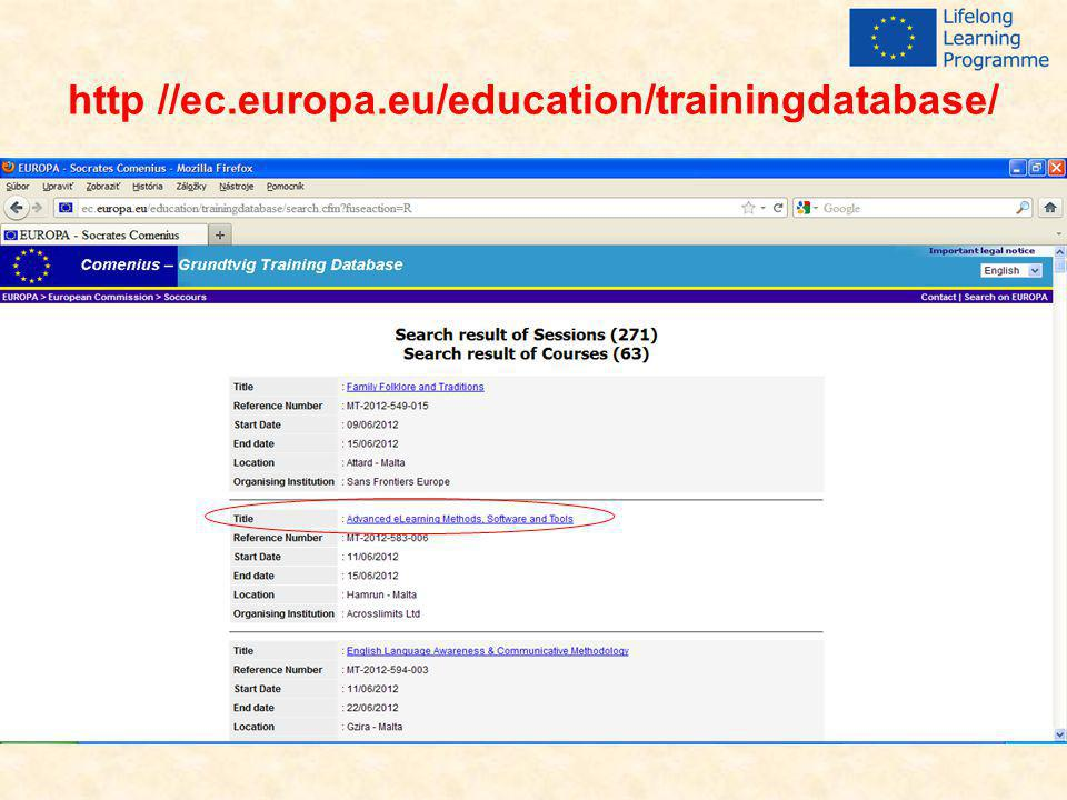http //ec.europa.eu/education/trainingdatabase/