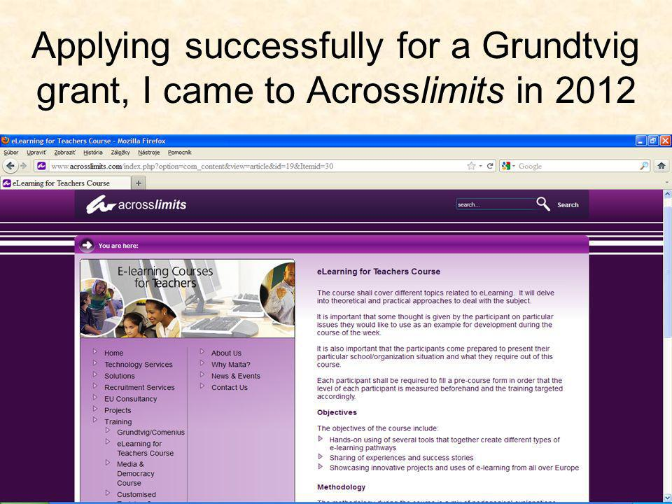 """Introducing eLearning and Creation of Educational Content ...within """"my course """"Introducing eLearning and Creation of Educational Content 1-year access to the education platform of Acrosslimits was enabled"""