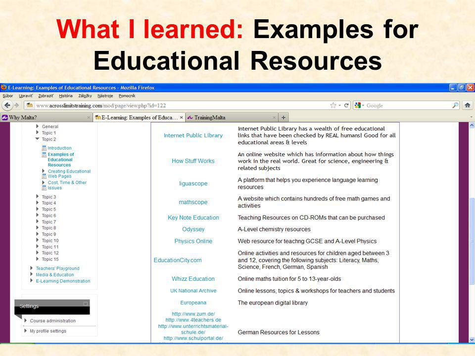 What I learned: Examples for Educational Resources