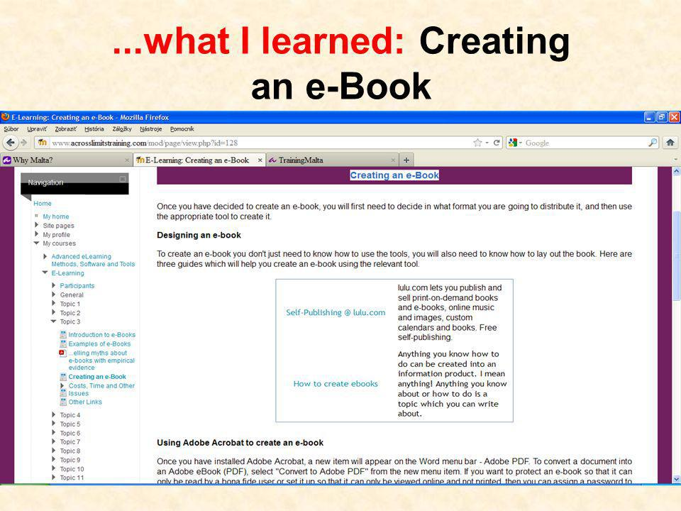 ...what I learned: Creating an e-Book