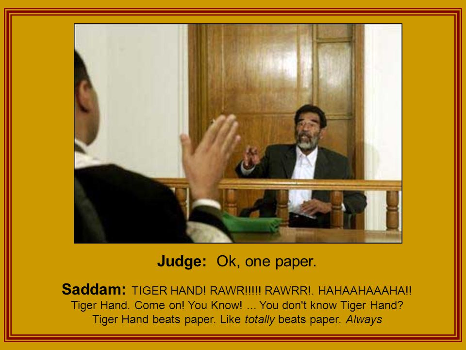 Judge: Ok, one paper. Saddam: TIGER HAND. RAWR!!!!.