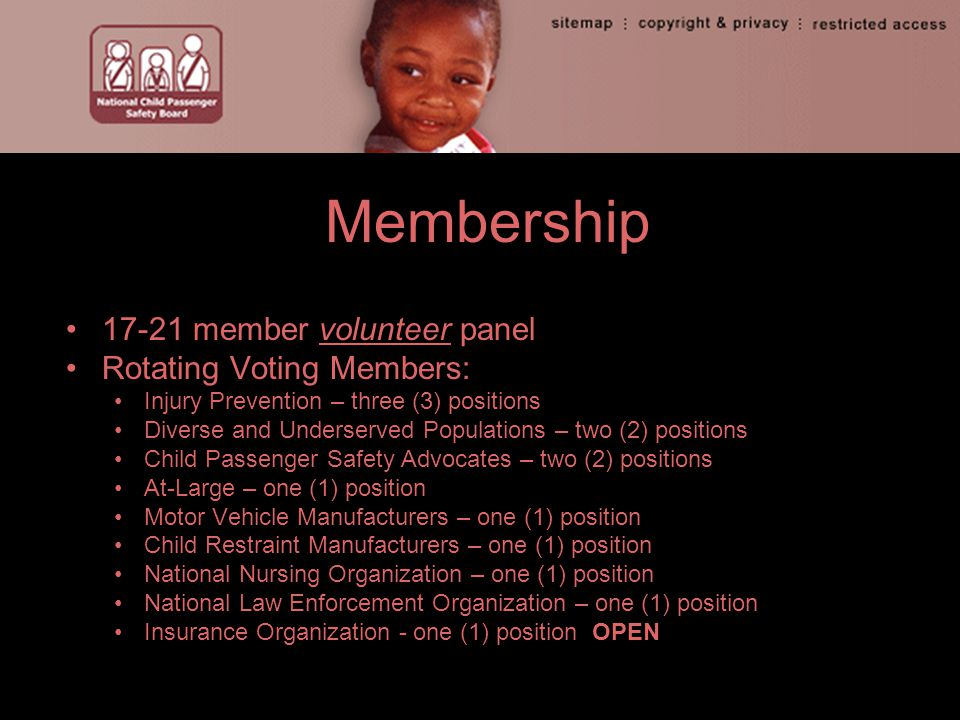 Membership 17-21 member volunteer panel Rotating Voting Members: Injury Prevention – three (3) positions Diverse and Underserved Populations – two (2) positions Child Passenger Safety Advocates – two (2) positions At-Large – one (1) position Motor Vehicle Manufacturers – one (1) position Child Restraint Manufacturers – one (1) position National Nursing Organization – one (1) position National Law Enforcement Organization – one (1) position Insurance Organization - one (1) position OPEN