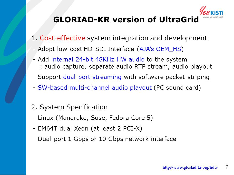 http://www.gloriad-kr.org/hdtv 7 GLORIAD-KR version of UltraGrid 1. Cost-effective system integration and development - Adopt low-cost HD-SDI Interfac