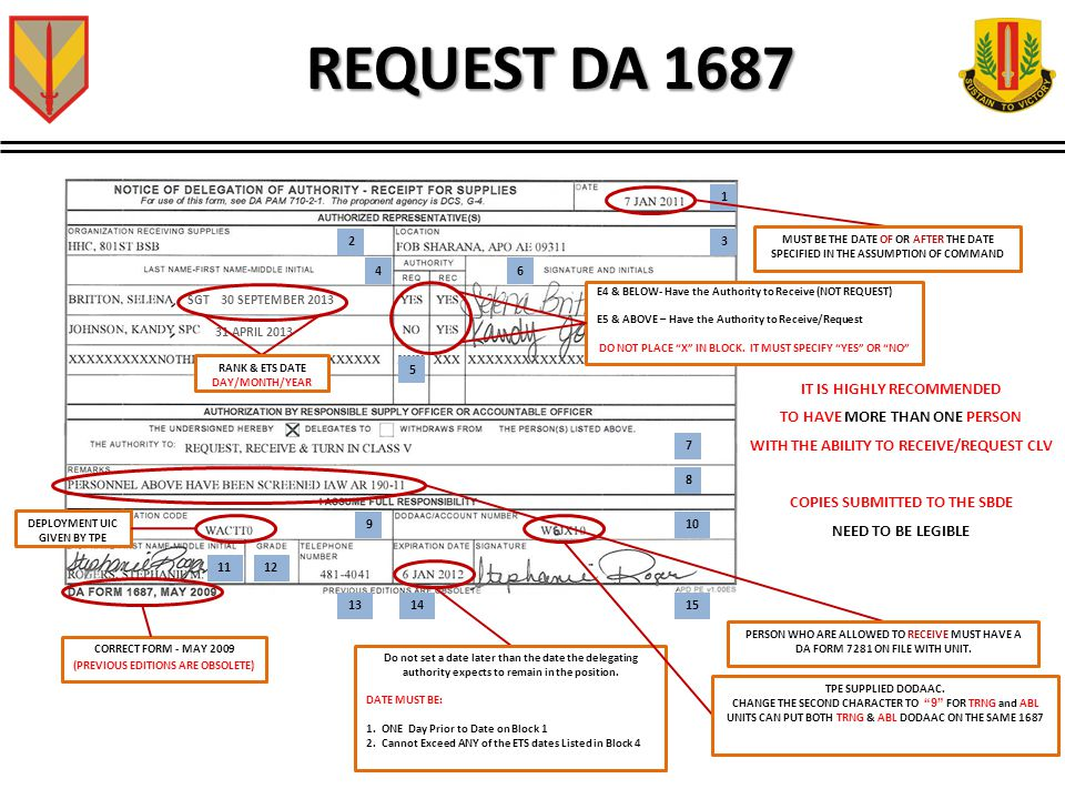 REQUEST DA 1687 1 23 4 5 6 7 8 910 1112 131415 CORRECT FORM - MAY 2009 (PREVIOUS EDITIONS ARE OBSOLETE) Do not set a date later than the date the delegating authority expects to remain in the position.