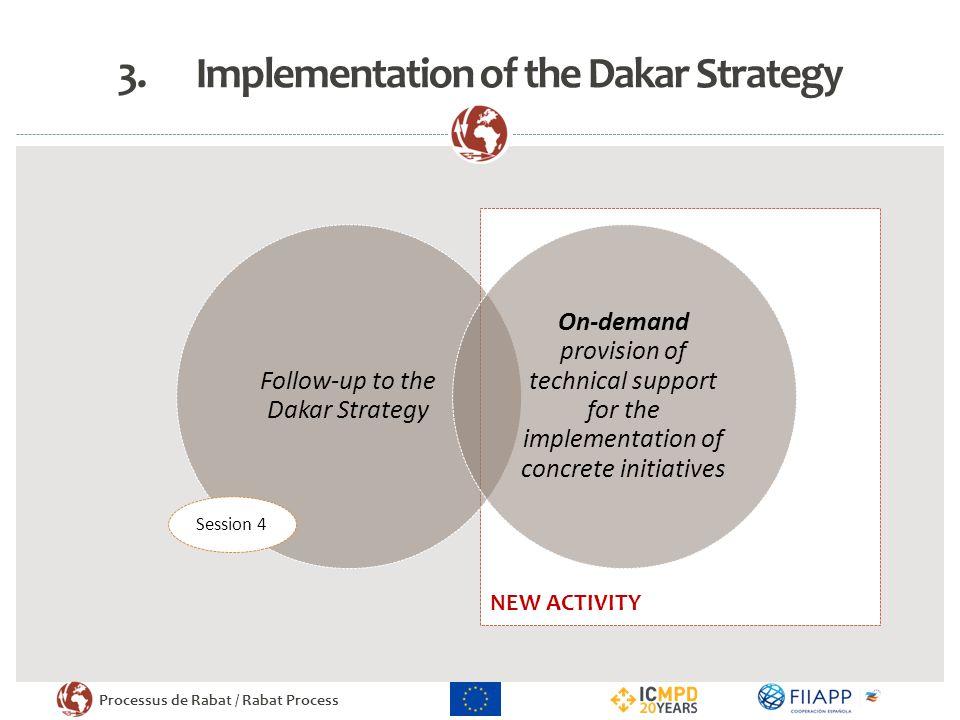 Processus de Rabat / Rabat Process NEW ACTIVITY 3.Implementation of the Dakar Strategy Follow-up to the Dakar Strategy On-demand provision of technica