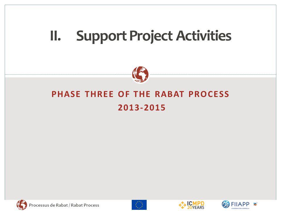 Processus de Rabat / Rabat Process PHASE THREE OF THE RABAT PROCESS 2013-2015 II.Support Project Activities