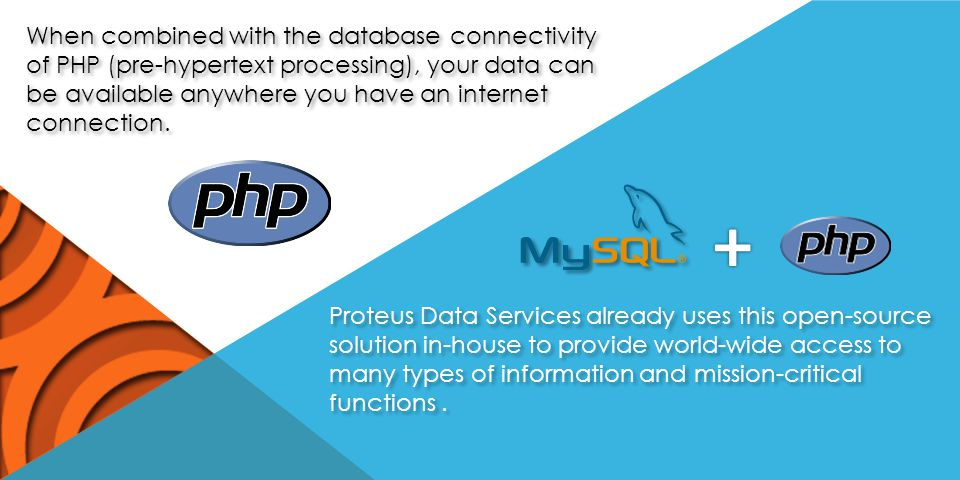 When combined with the database connectivity of PHP (pre-hypertext processing), your data can be available anywhere you have an internet connection.