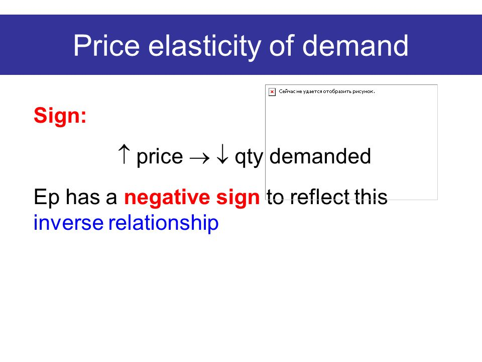 Price elasticity of demand Sign:  price   qty demanded Ep has a negative sign to reflect this inverse relationship