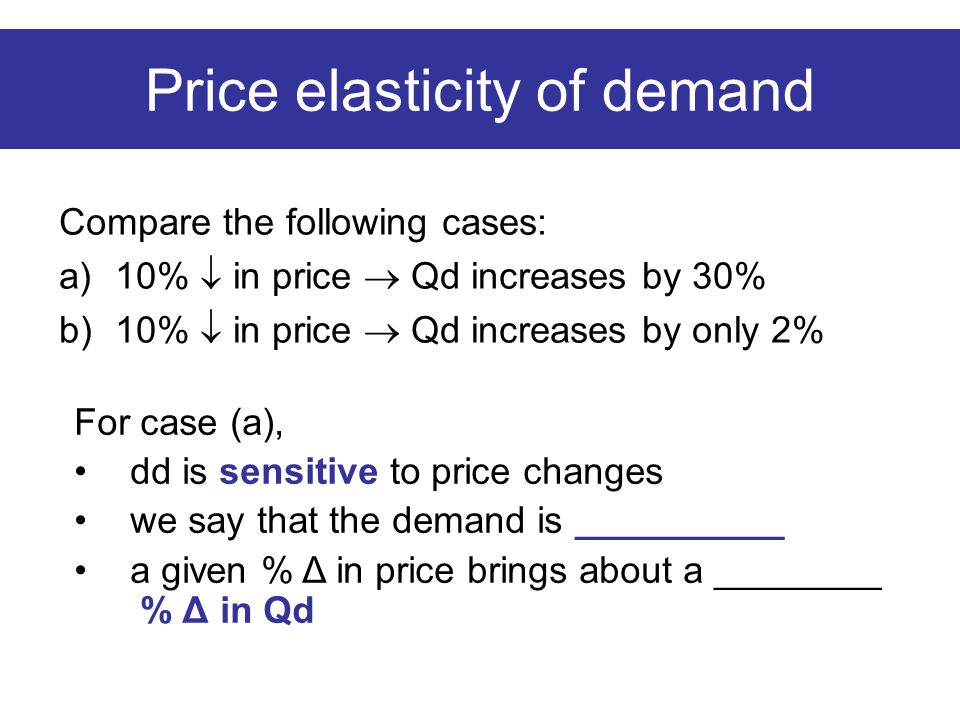 Price elasticity of demand Compare the following cases: a) 10%  in price  Qd increases by 30% b) 10%  in price  Qd increases by only 2% For case (a), dd is sensitive to price changes we say that the demand is __________ a given % Δ in price brings about a ________ % Δ in Qd