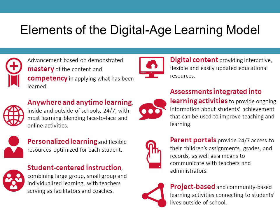 Elements of the Digital-Age Learning Model Advancement based on demonstrated mastery of the content and competency in applying what has been learned.