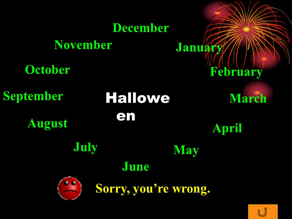 Halloween January February March April May June July August September October November December
