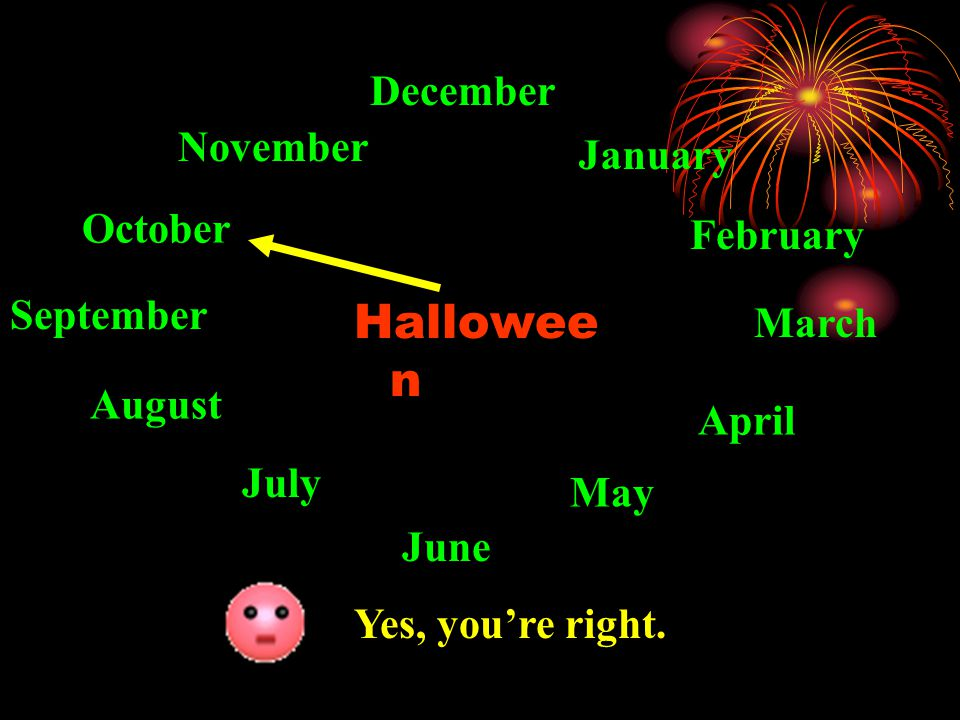 Hallowe en January February March April May June July August September October November December Sorry, you're wrong.