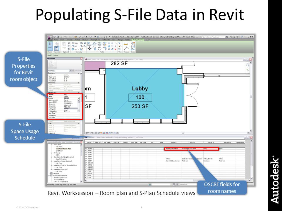 9© 2010 DCStrategies Populating S-File Data in Revit S-File Space Usage Schedule S-File Properties for Revit room object OSCRE fields for room names Revit Worksession – Room plan and S-Plan Schedule views
