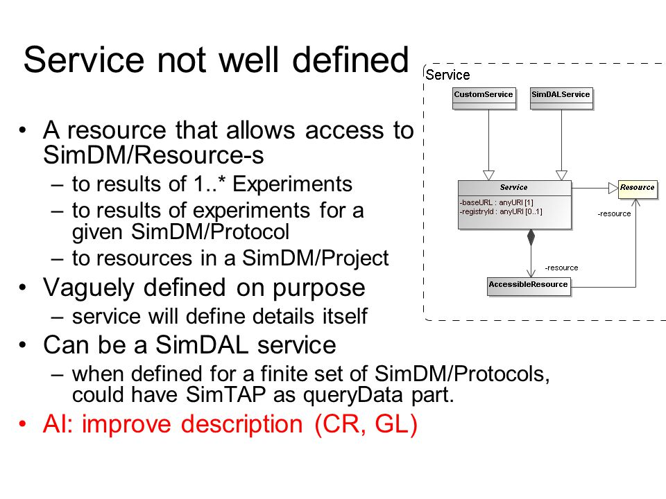 Service not well defined A resource that allows access to SimDM/Resource-s –to results of 1..* Experiments –to results of experiments for a given SimD