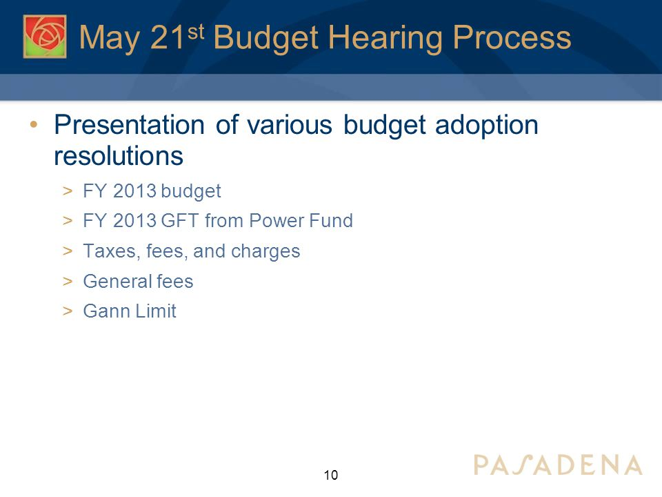 May 21 st Budget Hearing Process Presentation of various budget adoption resolutions  FY 2013 budget  FY 2013 GFT from Power Fund  Taxes, fees, and charges  General fees  Gann Limit 10