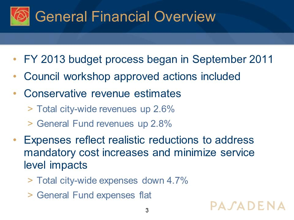 General Financial Overview FY 2013 budget process began in September 2011 Council workshop approved actions included Conservative revenue estimates  Total city-wide revenues up 2.6%  General Fund revenues up 2.8% Expenses reflect realistic reductions to address mandatory cost increases and minimize service level impacts  Total city-wide expenses down 4.7%  General Fund expenses flat 3