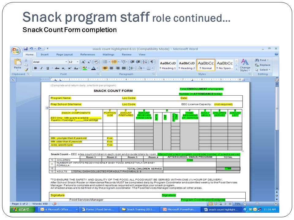 Snack program staff role continued… Snack Count Form completion