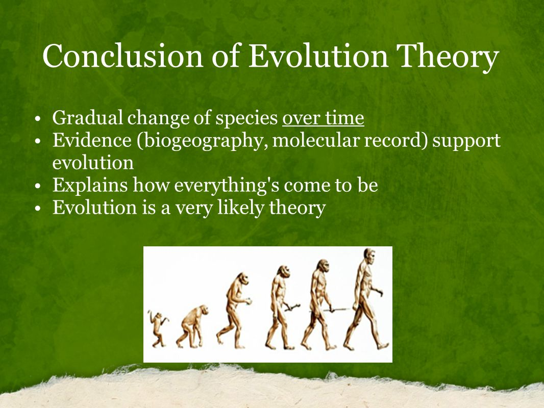 Conclusion of Evolution Theory Gradual change of species over time Evidence (biogeography, molecular record) support evolution Explains how everything s come to be Evolution is a very likely theory