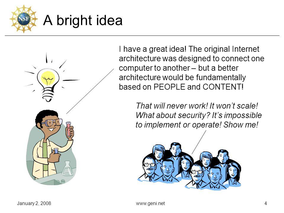 January 2, 2008www.geni.net4 A bright idea I have a great idea.
