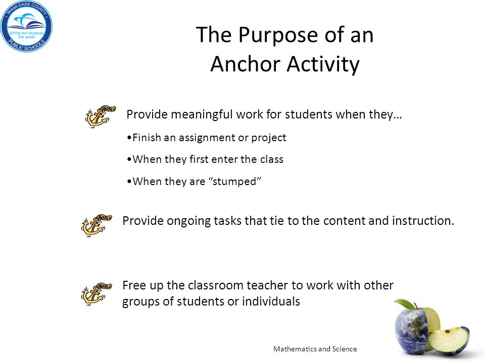 The Purpose of an Anchor Activity Provide meaningful work for students when they… Finish an assignment or project When they first enter the class When they are stumped Provide ongoing tasks that tie to the content and instruction.