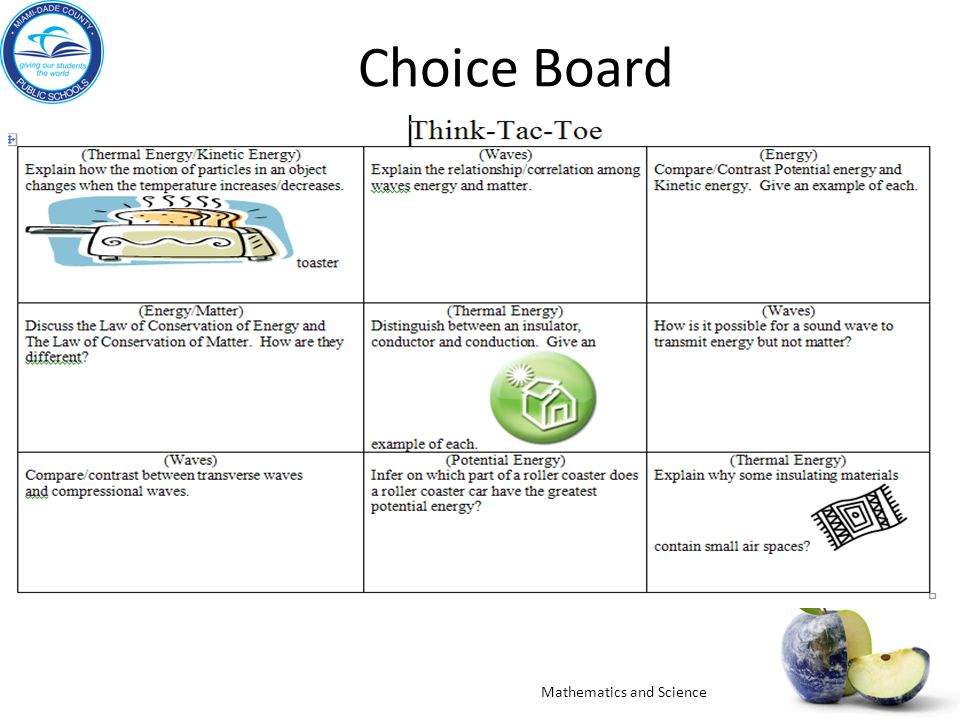 Choice Board Mathematics and Science