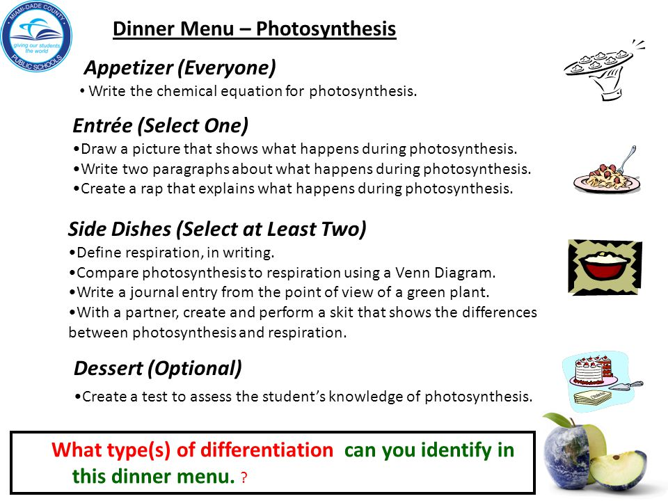 Entrée (Select One) Draw a picture that shows what happens during photosynthesis.