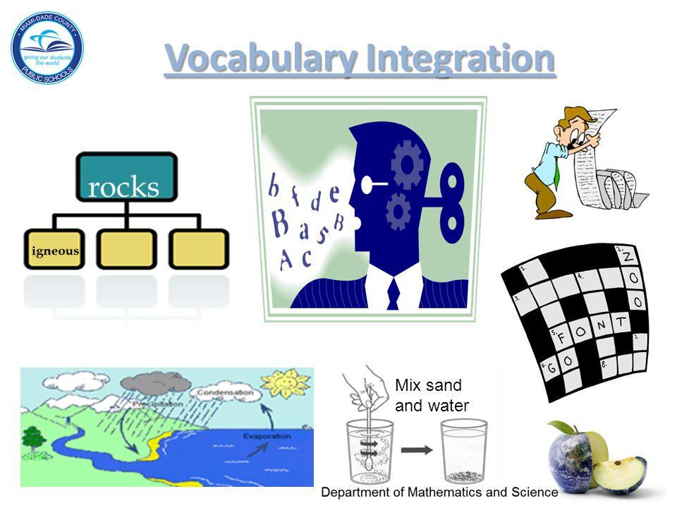 Vocabulary Integration Vocabulary Integration Vocabulary Integration Mix sand and water