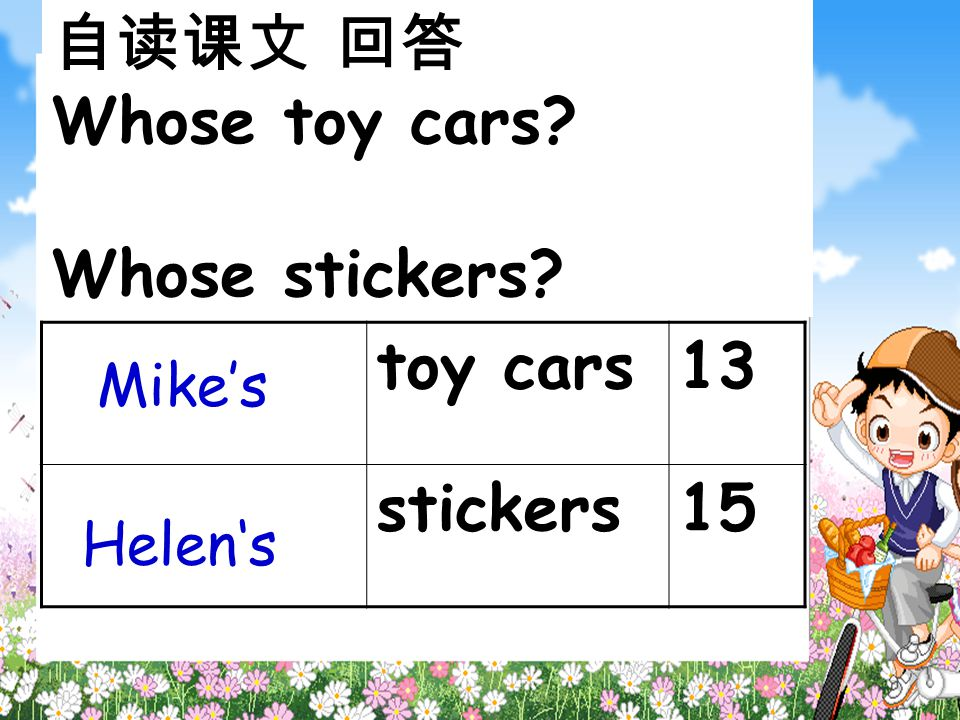 自读课文 回答 Whose toy cars? Whose stickers? toy cars13 stickers15 Mike's Helen's