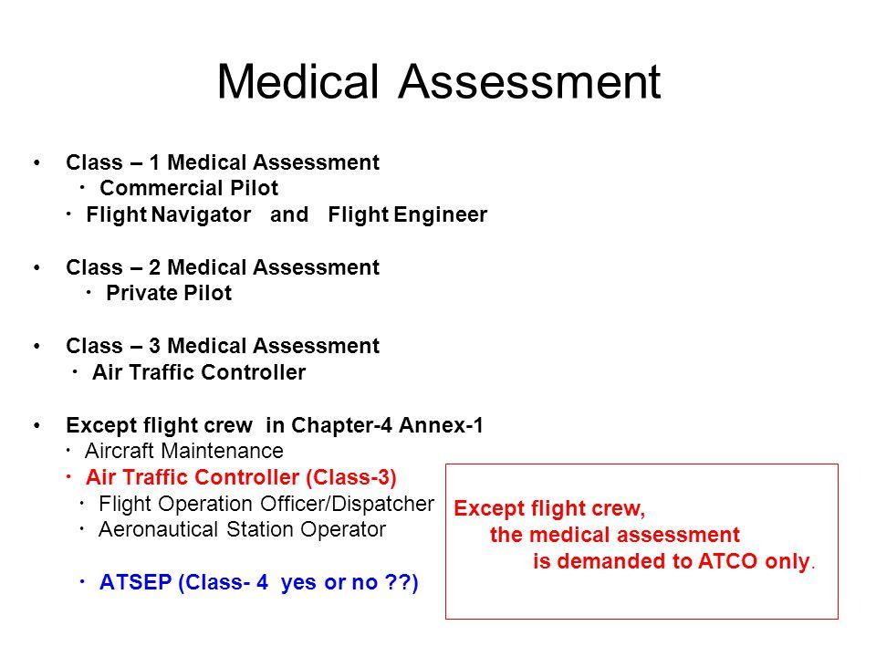 Medical Assessment Class – 1 Medical Assessment ・ Commercial Pilot ・ Flight Navigator and Flight Engineer Class – 2 Medical Assessment ・ Private Pilot