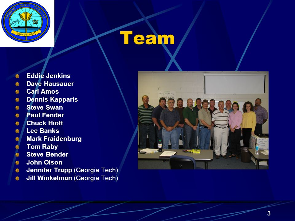 Insert your command logo on the slide master here 3 Team Eddie Jenkins Dave Hausauer Carl Amos Dennis Kapparis Steve Swan Paul Fender Chuck Hiott Lee Banks Mark Fraidenburg Tom Raby Steve Bender John Olson Jennifer Trapp (Georgia Tech) Jill Winkelman (Georgia Tech)