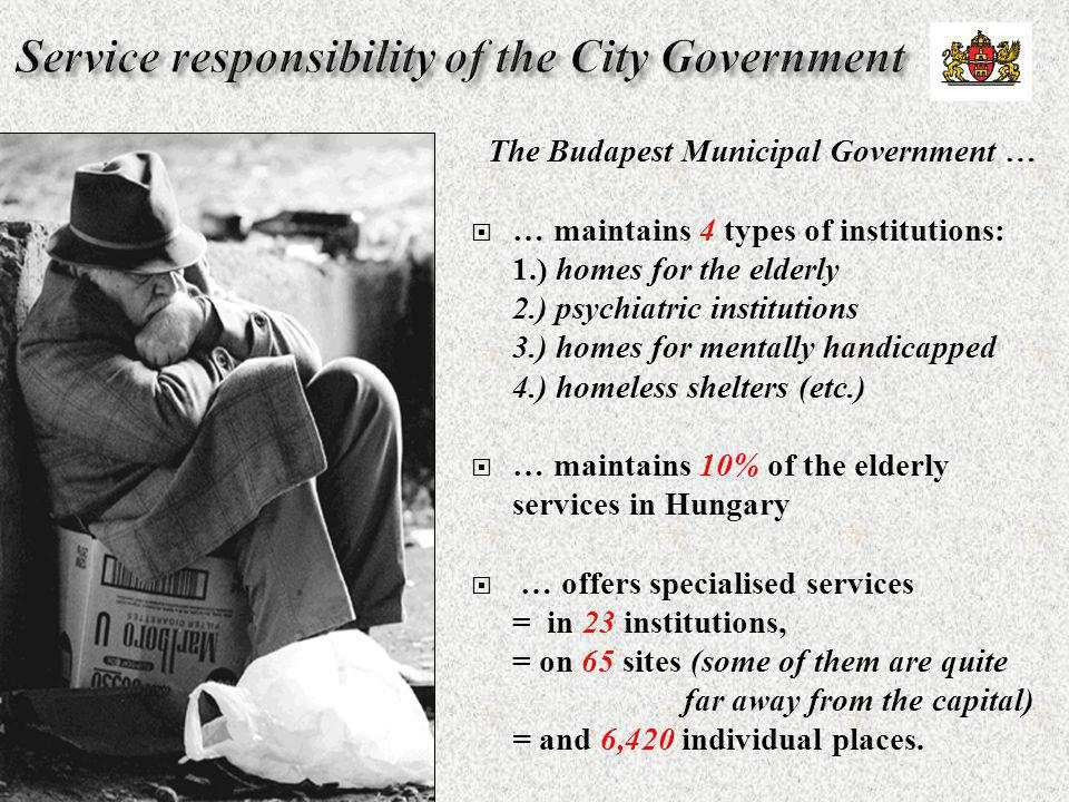 The Budapest Municipal Government …  … maintains 4 types of institutions: 1.) homes for the elderly 2.) psychiatric institutions 3.) homes for mental