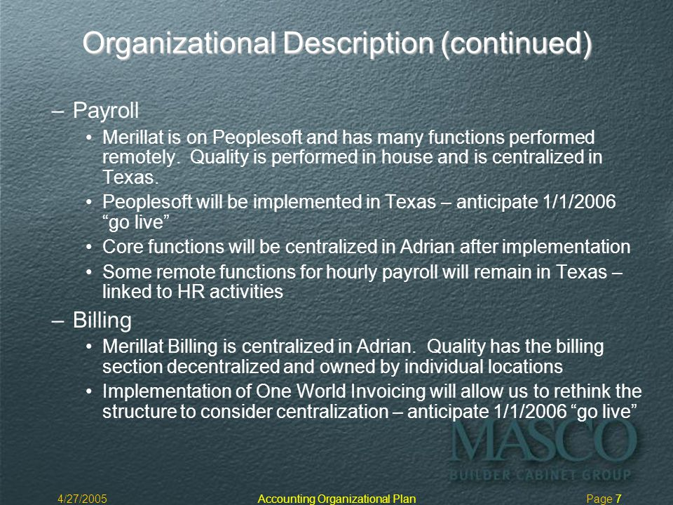 4/27/2005Accounting Organizational PlanPage 7 Organizational Description (continued) – –Payroll Merillat is on Peoplesoft and has many functions performed remotely.