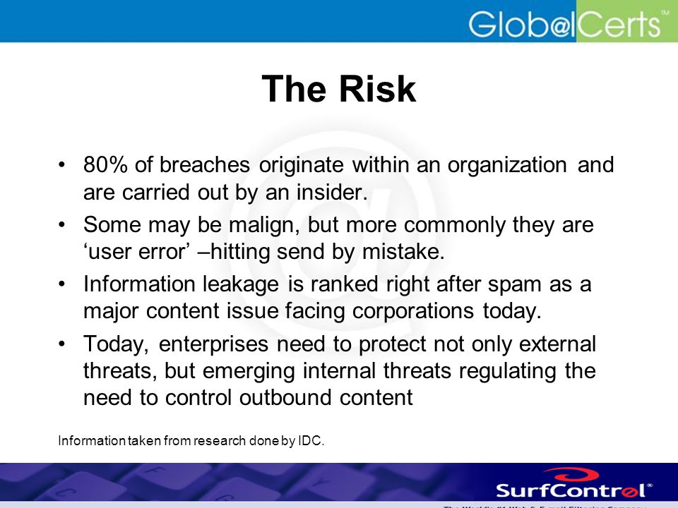 The Risk 80% of breaches originate within an organization and are carried out by an insider.