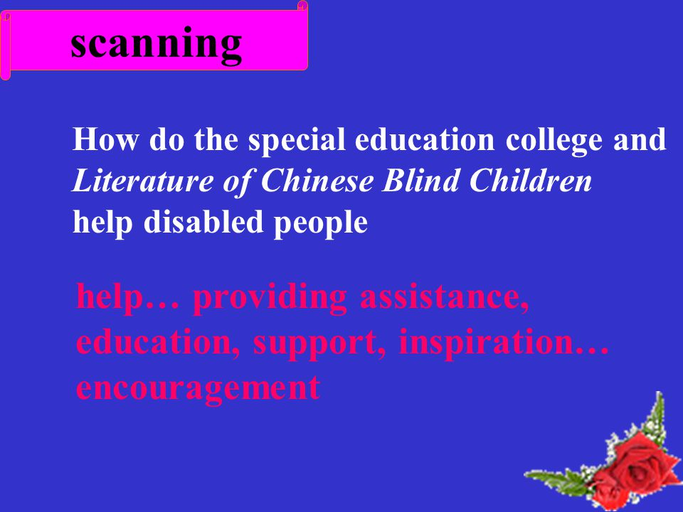 scanning How do the special education college and Literature of Chinese Blind Children help disabled people help… providing assistance, education, support, inspiration… encouragement