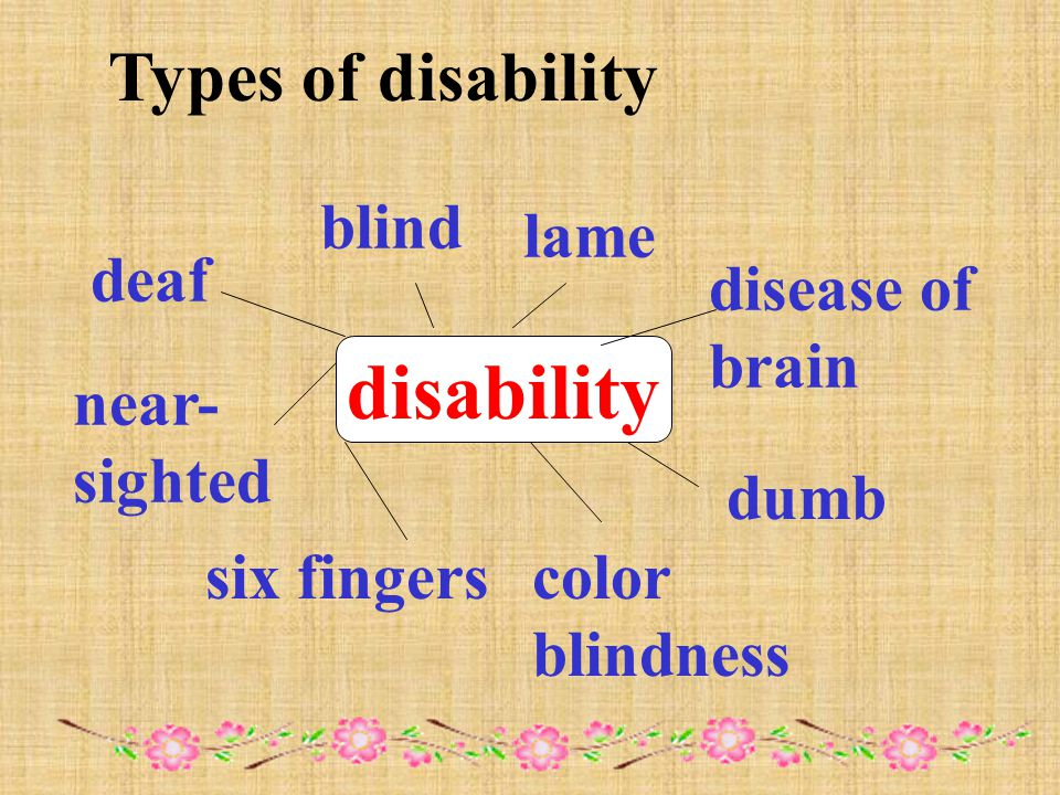 disability deaf blind lame dumb near- sighted six fingerscolor blindness disease of brain Types of disability