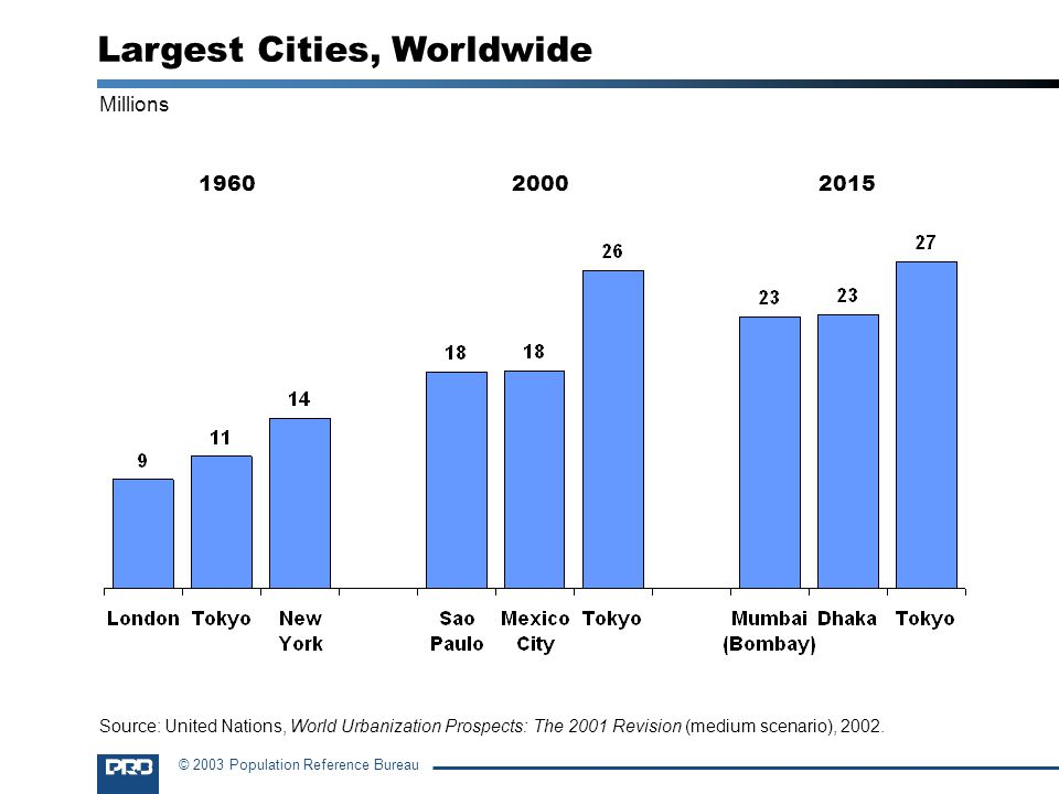 © 2003 Population Reference Bureau Millions 1960 2000 2015 Largest Cities, Worldwide Source: United Nations, World Urbanization Prospects: The 2001 Revision (medium scenario), 2002.