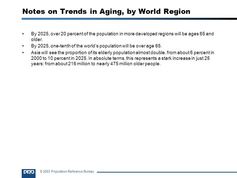 © 2003 Population Reference Bureau Notes on Trends in Aging, by World Region By 2025, over 20 percent of the population in more developed regions will be ages 65 and older.
