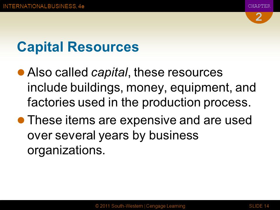 INTERNATIONAL BUSINESS, 4e CHAPTER © 2011 South-Western | Cengage Learning SLIDE 14 2 Capital Resources Also called capital, these resources include b