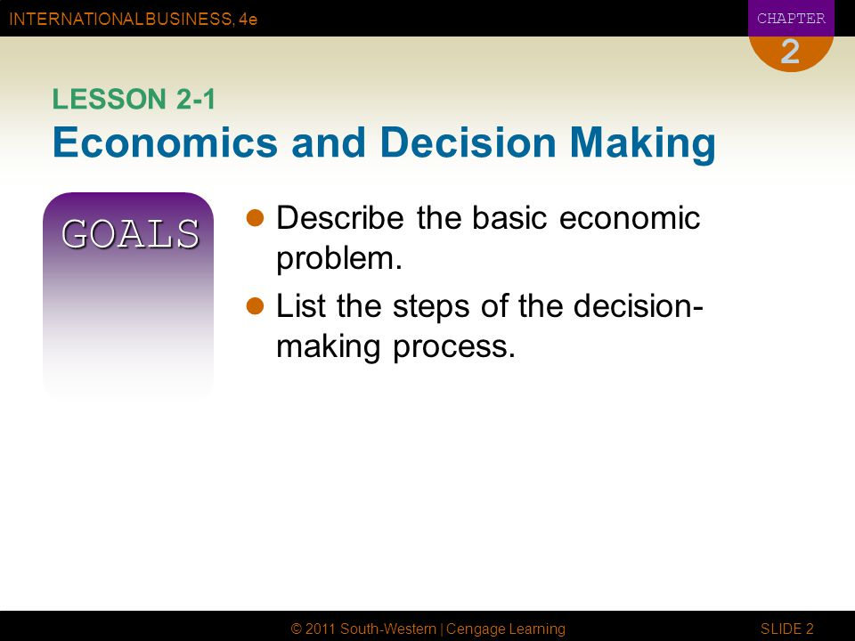 INTERNATIONAL BUSINESS, 4e CHAPTER © 2011 South-Western | Cengage Learning SLIDE 2 2 LESSON 2-1 Economics and Decision Making GOALS Describe the basic